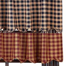 Checkered Curtains by Primitive Curtains And Country Valances For Country Home Decorating
