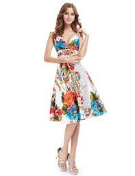 v neck printed knee length party dress
