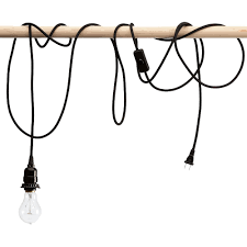 Cloth Cord Pendant Light Black Braided Cloth Covered Light Cord