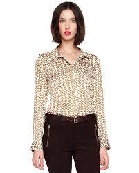 michael kors blouses lyst michael kors chainprint satin blouse womens in
