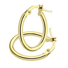 gold hoop earrings uk citerna 9 ct yellow gold oval hoop earrings co uk jewellery