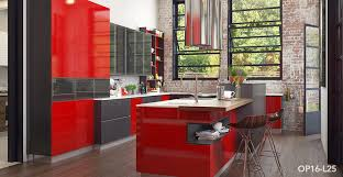 OPL Modern Red Industrial Style Kitchen Cabinet - Red lacquer kitchen cabinets