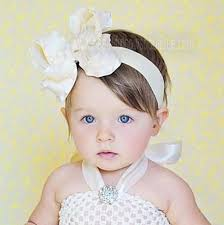 baby girl hair bows buy large ivory ruffle hair bow clip or baby headband online