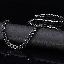 black necklace box images Black necklace for men chain new fashion cool black box chains 6mm jpg