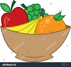 Bowl Of Fruits Wooden Bowl Fruit Apple Bananas Orange Stock Vector 91617938