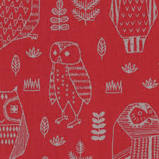 Owl Decor Fabric Red Canvas Kokka Japan Diy Pillow Tote