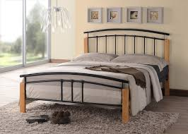 tetras 4ft small double black bed frame with beech posts sprung