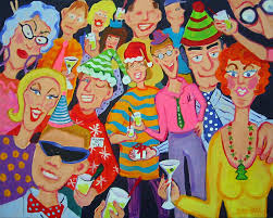 Funny Christmas Party - funny christmas office party scene santaclaustrophobia painting
