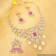 diamond pearl necklace set images Buy ruby american diamond pearl necklace set online jpg