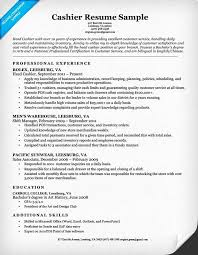 best cashier resume resume exle for cashier unforgettable part