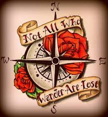 ohio state tattoos designs not all who wander are lost banner with compass tattoo design by