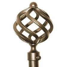 Metal Curtain Rods And Finials Royal Twist Curtain Rod 24 48