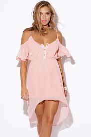 Womens Light Pink Dress Shop Wholesale Womens Pastel Light Pink Chiffon Cold Shoulder