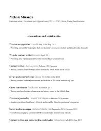 Social Media Resume Template Freelance Writing Resume Resume For Freelance Writer