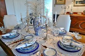 blue and white table runner holiday decor candelabra with blue white vase and table runner also