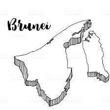 Brunei Map Hand Drawn Of Brunei Map Vector Illustration Stock Vector Art
