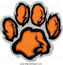 big cat vector clipart of a tiger paw print in orange and gray by