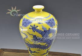Ming Dynasty Vase Value Ming Dynasty Antique Reproduction Oriental Porcelain Yellow Blue