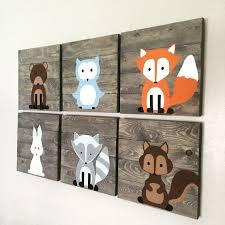Woodland Decor Nursery Woodland Creature Nursery Signs Set Of 6 Rustic Pallet Signs 14x14