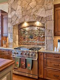 rustic stone kitchen with country appeal stove wood trim and