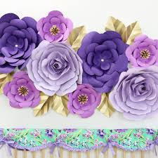 Purple Nursery Wall Decor Paper Wall Flower Set In Purple Caden