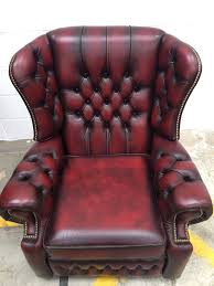 Red Leather Chesterfield Sofa by Oxblood Leather Monk High Back Saxon Chesterfield Recliner Chair 2