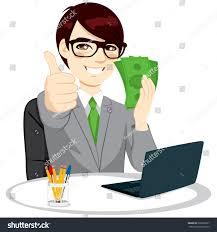successful businessman green banknote money fan stock vector