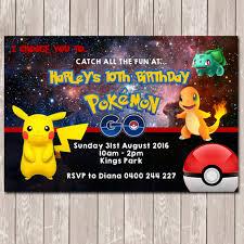 pokemon go personalised birthday invitation you print by deezee