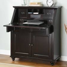 Compact Secretary Desk Classic Secretary Computer Desk With Hutch In Black Finish For