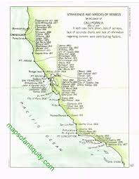 Lake Michigan Shipwrecks Map by The Shipwrecks And Strandings Off The Coast Of California In The