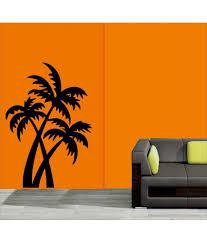 24 on mesleep coconut tree design black wall sticker on