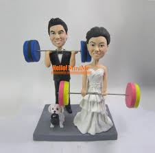 weight lifting cake topper cake topper wedding cake topper bobble custom cake topper