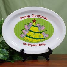 personalized serving platter ceramic personalized christmas platter mice family platters