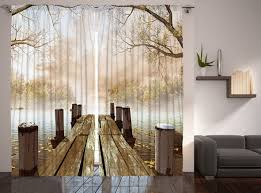 amazon com curtains for living room by ambesonne fall wooden