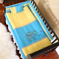 Bright Crib Bedding Bright Color Elephant Painting Combination Yellow And Blue