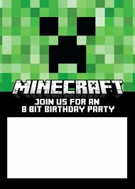 free printable birthday invitations minecraft birthday invitation cards free lovely free printable minecraft