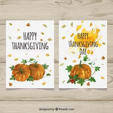 pretty watercolor pumpkin thanksgiving cards vector free