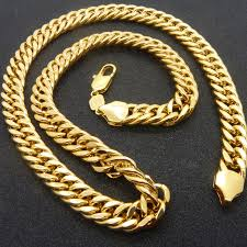 chain link necklace chunky images Solid chunky chain yellow gold filled mens necklace double curb jpg