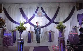 wedding drapes luxury white wedding backdrop with purple swags wedding drapes