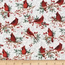 cardinal bird home decor timeless treasures winter wonderland metallic cardinals white