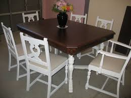 Dining Chairs White Wood Furniture Rectangle Dark Brown Dining Table Top With White Wooden
