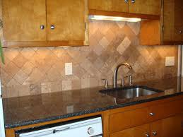 Kitchens With Tile Backsplashes Tumbled Travertine Kitchen Backsplash On Diagonal New Jersey