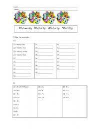 worksheet numbers 20 50