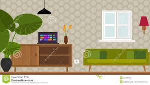 Vintage Home Interiors by Living Room Home Interior Vector Illustration Stock Vector Image
