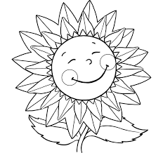 Sunflower Smiling Coloring Pages For Kids With Flowers Flower Sunflower Coloring Page