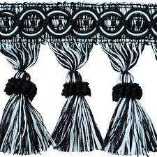 Black And White Drapery Fabric Kylie Classic Tassel Fringe 4