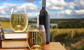 his hers wine glasses custom stemless wine glasses giftsforyounow groupon