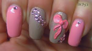 stylish and cute nail designs with bows and diamonds for girls