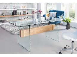 table de bureau en verre bureau design en verre chêne onyx 160 cm
