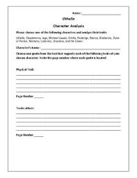 othello character analysis activity william shakespeare tpt